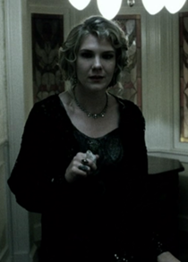 Lily Rabe smoking a cigarette (or weed)